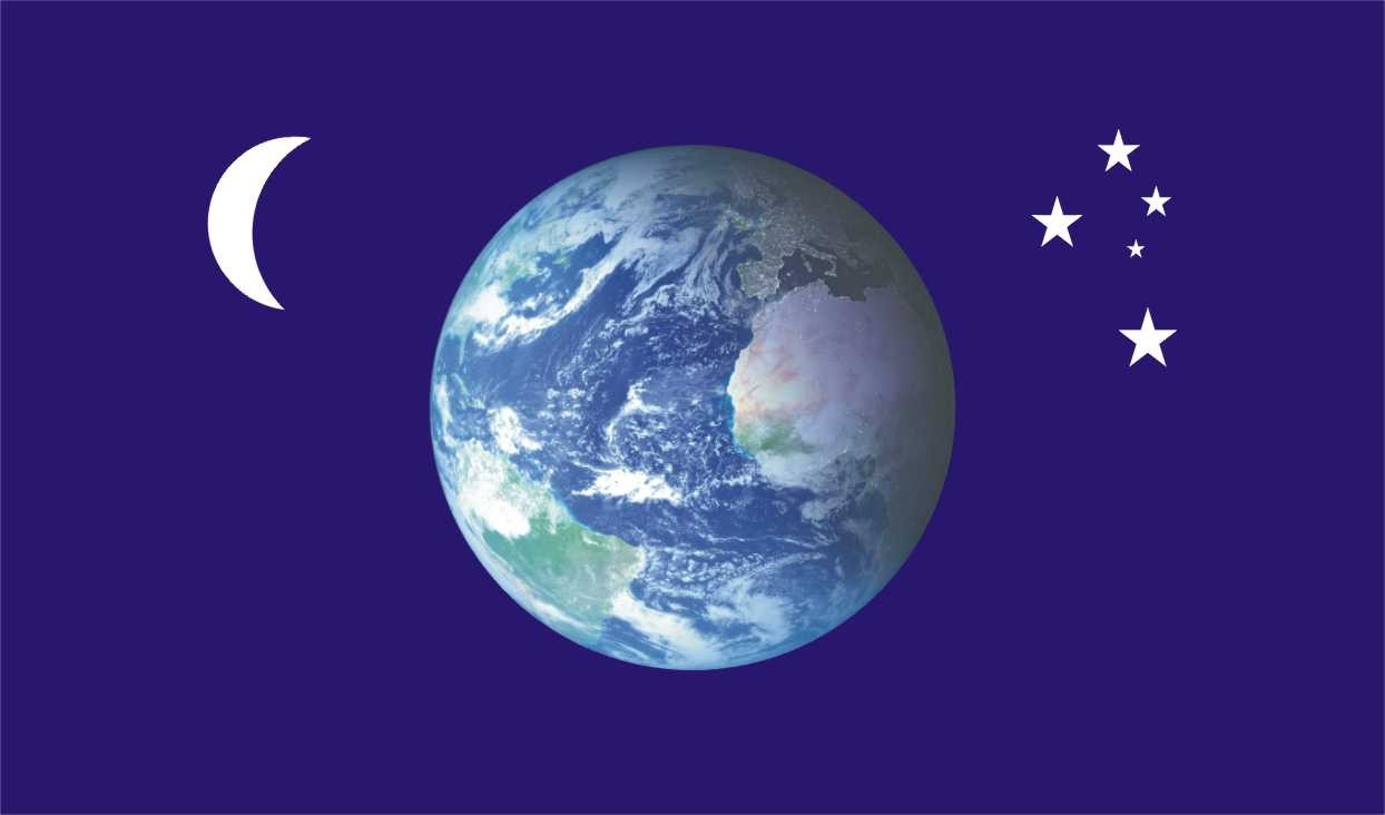 Flag On Moon From Earth - Pics about space