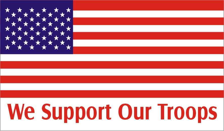 USA flag with words support our troops