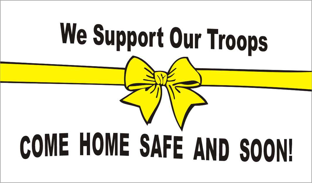 yellow ribbon wih words come home safe and soon